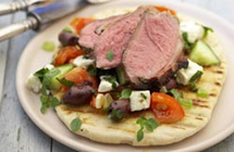 Barbequed Greek Herb Leg of Lamb with Greek Salad